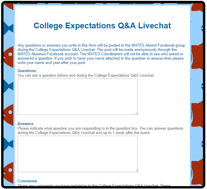 College Expectations 2015 Question Form